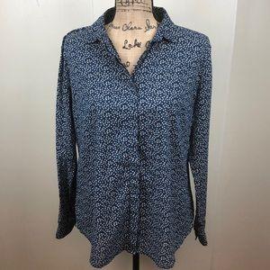 LOFT Ann Taylor Button Down Cotton Shirt Blue Sz M